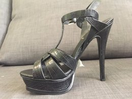 Wholesale Classic Stiletto High Heels - actual shoes! 3355 34 40 genuine leather lizard pattern sky high heels 14cm t strap sandals black beige luxury classic fashion women