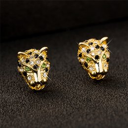 Wholesale Sexy Cool Jewelry - Hot Sell 18k Yellow Gold Plated Super Cool Tiger Earring Shiny Animal Design Earrings For Hot Sexy Girls Sexy Earring Jewelry