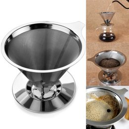 Wholesale Metal Baskets Wholesale - Cone Shaped Stainless Steel Coffee Dripper Double Layer Mesh Filter Basket Home Kitchen Tool