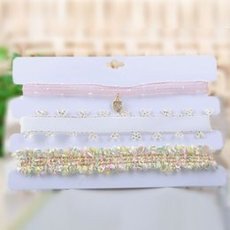 Wholesale Vintage Diamond Choker Necklace - Fashion choker necklace 3 chokers heart pendant Vintage Gothic fabric charms pink women wedding party jewelry