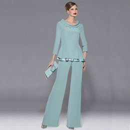 Wholesale Stands For Light - 2016 Popular Mother of Bride Pant Suits Two Pieces Long Sleeves Beads Stand Collar Formal Groom Mother's Modest Wear for Weddings Guest