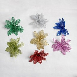 Wholesale Plastic Craft Ornaments - Christmas Hollow Plastic Flowers Sticky Powder Tree Ornaments Artificial Crafts Wedding Valentine Day Xmas Decor Multi Color 7sd F R