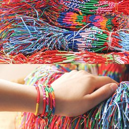 Wholesale Rope Weaves - Wholesale-ABL0251(100), Bohemian Brazil Cheap Colorful Rainbow Handmade Weave Woven Braided Rope Thin String Strand Friendship Bracelet