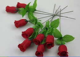 Wholesale wholesale silk flower buds - Factory wholesale silk flower simulation flower Artificial Bud single roses small branch of row sign Small single rose bud