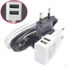 Wholesale Galaxy S4 Smart Phones - High Quality Dual 2A USB EU Plug Wall Charger + Micro USB Cable For Samsung galaxy S4 S3 S5 S6 For Huawei for LG Smart phone