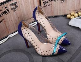 Wholesale Transparent Rhinestone Sandals - Peep Toe Shoes Wedding Thin Heels Sandals Women Diamond Heel Breathable Pumps Rhinestone Dress Pump Transparent film rivets bow shoes 11cm