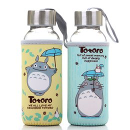 Wholesale Transparent Coffee Set - Lovely Totoro Drinking Cups 300ml Cartoon Coffee Tea Mug sets transparent lid glass water seal portable cup anime cartoon cup Free shipping