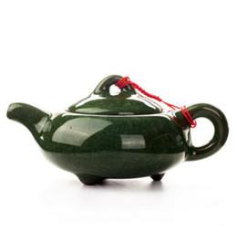 Wholesale ceramic clay pots - wholesale crackle glaze porcelain tea pot elegant green color kungfu tea set beautiful purple clay teapot T296