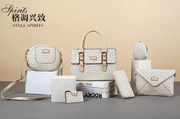 Wholesale Large Tote Patterns - 2016 new Ms. 6pcs lot picture-bone pattern women shoulder bag diagonal handbagsmessenger bags purse wallets