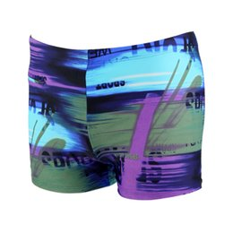 Wholesale Surfing Prints - Wholesale-Men Designer Swim Shorts Beach Swimming Suit Purple Grey Print One Piece Surf Boardshorts Cool Trunks Polyester Spandex