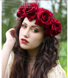 Wholesale Wedding Forehead Accessories - High Quality Bride Accessory Rose Flowers Hair Bridal Wedding Flower Garland Headbands Forehead Hair Band