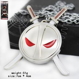 Wholesale finish design - Deadpool Movie X-men Mask alloy Keychain necklace DHL 2 Design new Children Superhero deadpool key ring baby Keychain necklace B