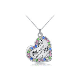 Wholesale Heart Shaped Platinum Pendant - The new platinum diamond heart-shaped necklace female version exquisite diamond necklace wholesale high-end fashion necklace Free shipping