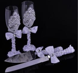 Wholesale Luxurious Wedding Favors - 2016 Luxurious Wedding Gift 4pcs set Set Goblet & Diamond Cake Scoop & Cake Knife Set Personalized Decoration Party Favors&Supplies