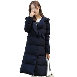 Wholesale Womens Cotton Overcoats - 2016 Winter New Womens Fashion Warm Slim Hooded Long Coats For Female Long Sleeve Down Parkas cotton Padded jacket Overcoat XL