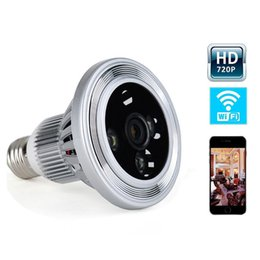 Wholesale Light Bulbs For Camera - Spy light bulb lamp P2P 720P Wifi wireless spy hidden bulb dvr Led bulb video camera with motion detection camcorder for home security Cam
