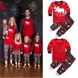Wholesale Winter Kids Pajamas - New Autumn Warm Fall Winter Xmas Santa Deer Christmas Family Kids Women Men Adult Sleepwear Pajamas Set Striped Cotton Pyjamas 2pc Outfits