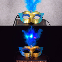Wholesale Masquerade Ball Props - Mixed color Halloween Facial LED mask Venetian Ball Prom Glowing LED Fiber Mask Mask Masquerade Cosplay Prop Fancy Dress Costume Halloween