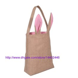 Wholesale Babies Clothes Shops - 50pcs Cotton Lined Linen Canvas Easter Gift Bag Rabbit Bunny Ear Shopping Tote Bag Bunny Ears bag Baby Kids