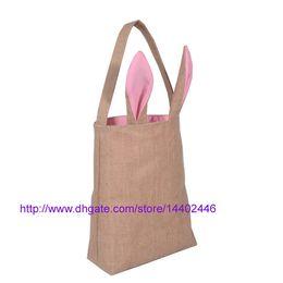 Wholesale Canvas Garage - 50pcs Cotton Lined Linen Canvas Easter Gift Bag Rabbit Bunny Ear Shopping Tote Bag Bunny Ears bag Baby Kids