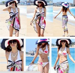 Wholesale Cheapest Sarongs - Pop Sale!!! Wholesale Pareo Sheer Chiffon Sarong Beach Cover Up Bikini Wrap White Black High Quality Cheapest Price Swimwear B4333