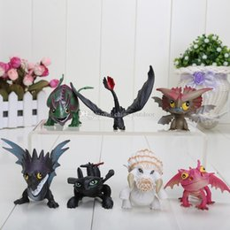 Wholesale Toy Bag Pvc - 7pcs set How to Train Your Dragon figure Night Fury Toothless figure Toy Animal Doll action Christmas Gift in opp bag