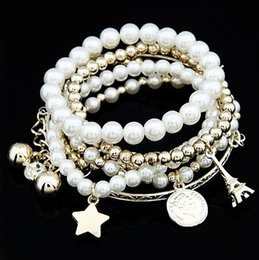 hand bracelet accessories Promo Codes - XS Many Elements Eiffel Tower Imitation Pearl Bracelet Vintage Coin Covered Times Accessories Multilayer Elastic Hand Catenary