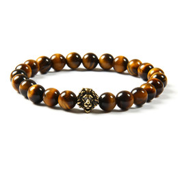 Wholesale Antique Cz Ring - Wholesale 10pcs lot Antique Gold And Silver Cz Lion Head With 8mm Natural Tiger Eye Stone Beads Bracelets