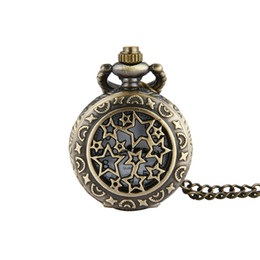 Wholesale Steampunk Lockets - Hollow Shooting Star Pocket Watch Necklace Bronze Fob Watches Quartz Watches Lockets Women Steampunk jewelry Christmas Gift 230245