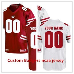 Wholesale Embroidery Football Jerseys - Custom Wisconsin Badgers UA Customized White red stitched ncaa Jersey embroidery name number free shipping