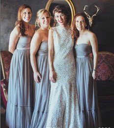 Wholesale White Tull Dress - Gray Cheap Long Custom Bridesmaid Dresses 2017 New Arrival Sweetheart Tull Ruffles Long Wedding Guest Dresses Summer Beach Prom Gowns