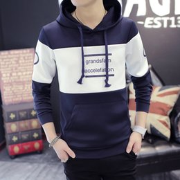 Wholesale Teens Hoodies - New Fall Arrival Men Hoodies Japanese Korean style Sweatshirts Letter Print Pattern Brand Slim Teens Boys Cotton Pullover