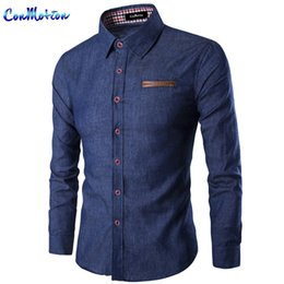 Wholesale Denim Shirts Leather - Wholesale- Classic Men 's Jeans Shirt Leather Pocket Decorative Fashion Casual Denim Shirts Slim Fit Brand Clothing