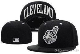 Wholesale Wholesale Sports Logo Hats - New Cleveland Indians Baseball Caps Front Logo Alternate Fitted Hat wicks away sweat Adult Sport Fit Cap