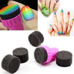 Wholesale Nail Art Stamping Sponge - 1 Set DIY Nail Art Design Stamping 1 Stamper + 4 Changeable Sponge Shade Transfer