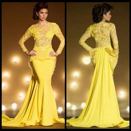 Wholesale Transparent Mermaid Prom Dress Lace Jewels - Vintage Lace Formal Evening Dresses With Long Sleeves Mermaid Appliqued Sheer Jewel Neck Peplum Prom Dress Yellow Transparent Gowns