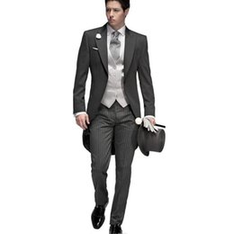 Wholesale Tuxedo Vest Set Piece - 2017 Tailored Elegant Bridegrom Gray morning suit Wedding tuxedo for men groomwear 5 pieces suits set (jacket+pants+vest)