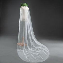 Lange schleier perlen online-2018 neue Mode Bling Bling Perlen Brautschleier 3m Länge Eine Schicht Luxus Braut Zubehör Lange Tüll