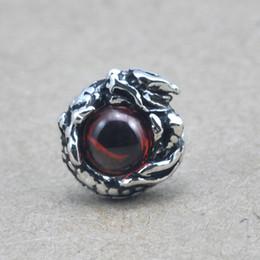 Wholesale Male Studs - 925 sterling silver earrings for men Garnet dragon eye stud earring new fashion thai silver man male Garnet Ruby Stonejewelry E01