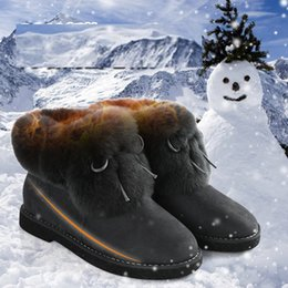Wholesale Korean Flats Boots - Snow boots female winter new boots female rabbit hair warm bowknot tendon at the end of round head increased Korean women boots