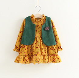 Wholesale Girls Printed Waistcoat - Girls Cherry Dresses+Knit Waistcoats Outfits 2017 Fall Kids Boutique Clothing Korean Little Girls Long Sleeves Dresses 2 Pieces Set