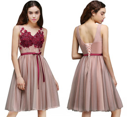 Wholesale Ship Up Knee Dresses - 2017 New Arrival Short Junior Bridesmaid Dresses Knee Length Tulle Cocktail Lace-up With Bow Free shipping CPS657