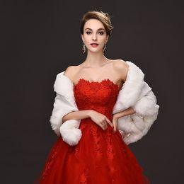 2016 Abrigos de piel nupcial de invierno 55 cm * 150 Marfil mujeres cálido chal de lana Rojo / Negro Señora Envuelve Para Ocupación Especial Accesorio nupcial desde fabricantes
