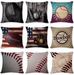 Wholesale Case Car Design - 9 Designs 45*45cm Newest Baseball Football Pillow Case Cotton Linen Square Cushion Sofa Car Livingroom Bedroom Pillow Covers CCA6920 100pcs