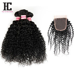 Wholesale Fashion Indian Hair - 7A Brazilian Virgin Hair With Closure Top Brazilian Kinky Curly Virgin Hair With Closure 2016 Fashion Moda Hair 3 Bundle Deals With Closure