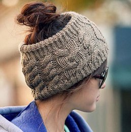 Wholesale Acrylic Hair Bands - New Style Women Winter Woolen Caps Knitted Empty Skull Beanie Winter Warm Ponytail Hats Twist The Knitting Wool Headband Hats Hair Band