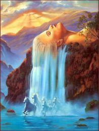 Cachoeiras lona de óleo on-line-Beleza e a cachoeira, Genuíno de Alta Qualidade Pura Mão Pintada Decoração Da Parede Retrato Da Arte Da Paisagem Pintura a óleo sobre tela