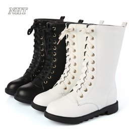 Wholesale Girl Riding Boots - classic designs super quality riding boots girls cotton lining breathable comfortable autumn booties shoes mid-calf lace-up boot