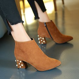 Wholesale Female Shoe Designers - Brand Designer Pearl Ankle Boots Sexy High Heel Women's Winter Boots Side Zipper Shoes Woman Square Toe Female Shoes 2017