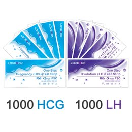 Wholesale Lh Test Strips - LOVEXOK One Step 1000pcs Medical Pregnancy Tests +1000pcs LH Ovulation Test Strip Kits FDA CE Free Shipping by DHL or Fedex